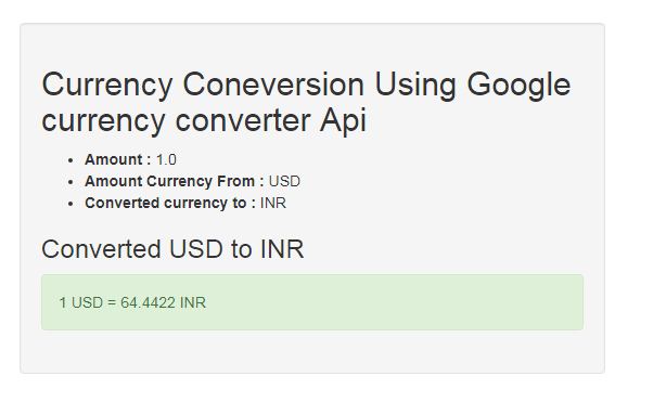 Currency Conversion Using Google currency converter Api